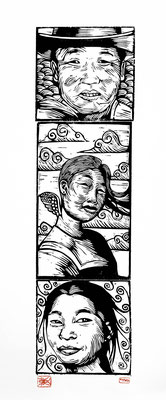 Gravure sur bois - bois gravé : Mongolpeople 70x20 -Papier vinci-160€