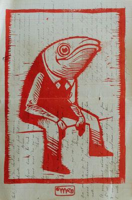 Gravure sur bois - bois gravé : Monsieur Sardine 35x20  -Papier 1881 - 100€