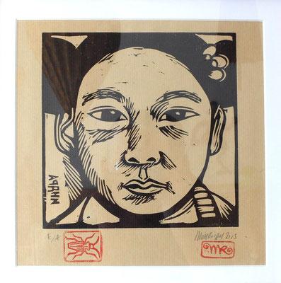 Gravure sur bois : Fille mongole 25x25 -Papier kraft- 70 €