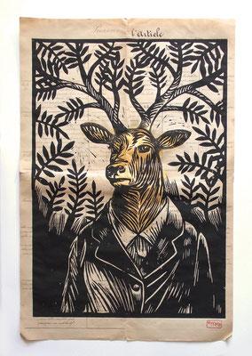 Gravure sur bois - bois gravé : Le cerf 45x60  250€