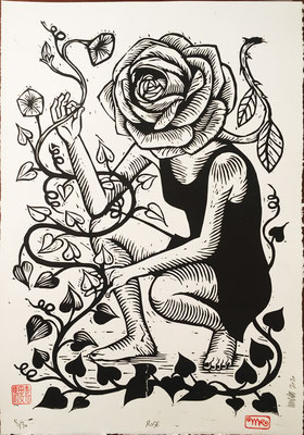 Rose papier blanc 50x70 260€ mattroussel_gravure_sur_bois