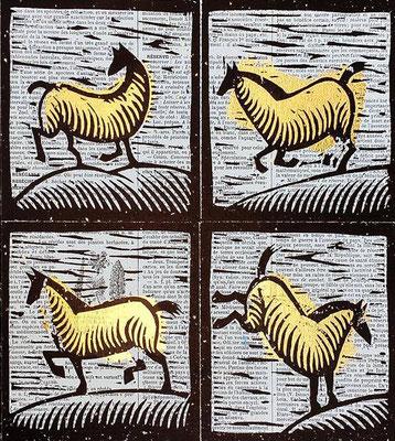mattroussel_gravure_sur_bois-feuille-d'or-4-chevaux 170€-20x20cm