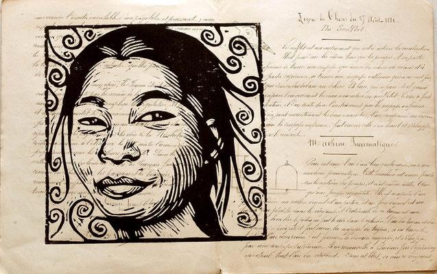 Gravure sur bois - bois gravé : Mongole2 21x29 -Papier 1880- 90€