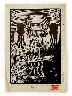 """""""Medusa"""" gravure sur bois/woodcut 23x17 150€"""
