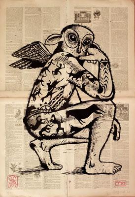 Gravure sur bois - bois gravé : Hibootatoo 45x60 -Papier encyclopedie 1901-  200€