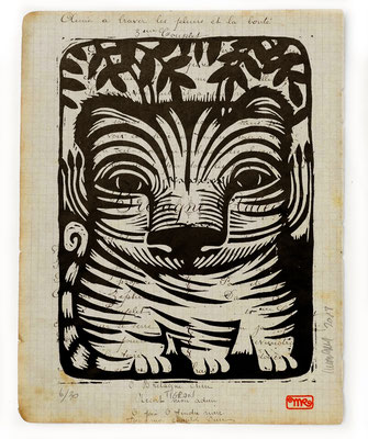"""Tigron"" gravure sur bois/woodcut 25x20 90€"