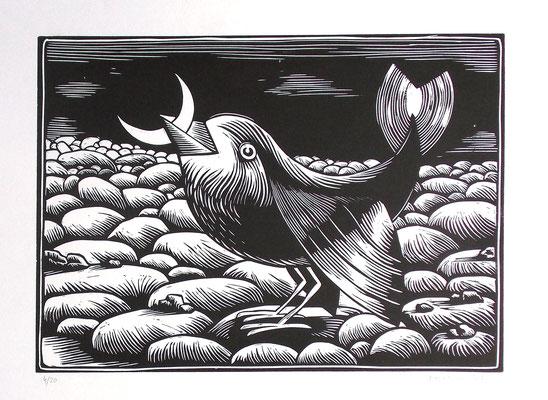 Gravure sur bois - bois gravé : Oiseau lune 40x60 - Papier Vinci -140€