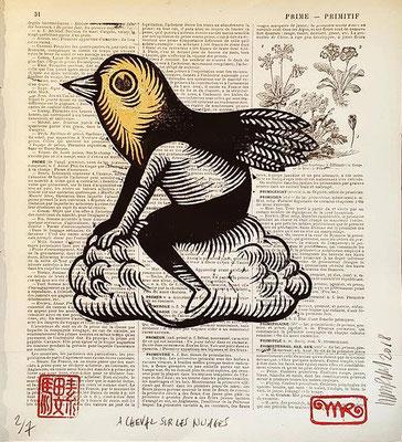 mattroussel_gravure_sur_bois-feuille-d'or-a-cheval-sur-les-nuages 170€-20x20cm