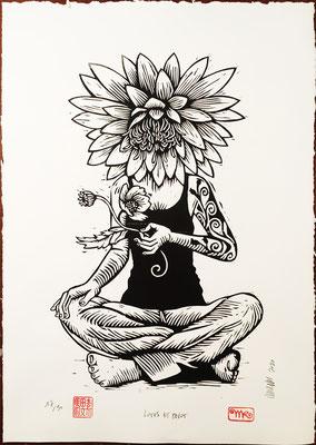 Lotus et pavot papier blanc 45x68 280€ mattroussel_gravure_sur_bois
