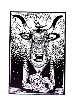 Gravure sur bois - bois gravé : La vache qui rit 45x60  -Papier Vinci -210€