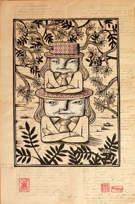 Gravure sur bois - bois gravé : Soeur Totem chine collé 40x60 -Papier 1880- 250€