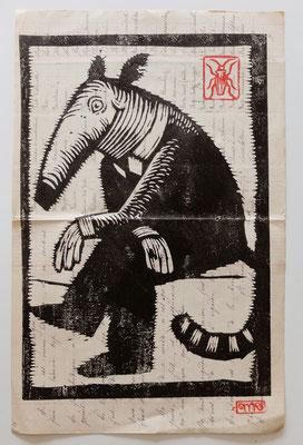 Gravure sur bois - bois gravé : Monsieur Tamanoir 35x20  -Papier encyclopedie 1901 - 120€