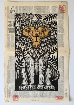 mattroussel_gravure_bois_lion_doré (encre typographique, feuille à dorer) 250€  35x25