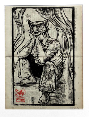 Gravure sur bois - bois gravé : Monsieur Puma 40x25  -Papier encyclopedie 1901 - 170€