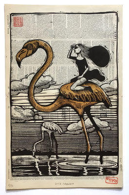 mattroussel_gravure_sur_bois_gold flamingo 50x70 280€