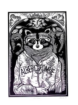 Gravure sur bois - bois gravé : Albert crombie 45x60   -Papier Vinci -210€
