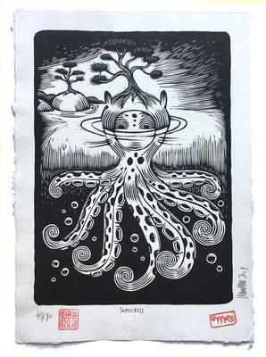 mattroussel_gravure_sur_bois_Octopuss 40x30 180€