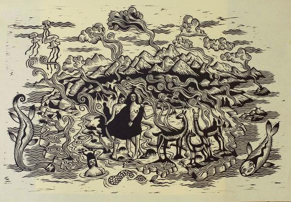 """""""Patagonie"""" gravure sur bois/woodcut 80x 50 300€"""