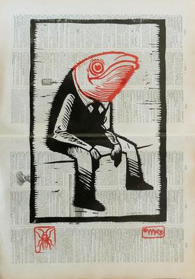 Gravure sur bois - bois gravé : Monsieur Sardine 35x20  -Papier encyclopedie 1901 - 120€