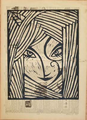 Linogravure : elfe 40x25  -Papier encyclopedie 1901 - 60€