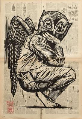 Gravure sur bois - bois gravé : Hibou 45x60  -Papier encyclopedie 1901-  250€