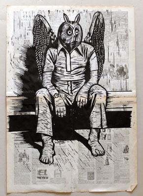 Gravure sur bois - bois gravé : Hibou assis 45x60 -Papier encyclopedie 1901- 200€