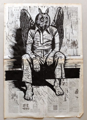 Gravure sur bois - bois gravé : Hibou assis 45x60 -Papier encyclopedie 1901- 250€