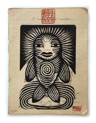 """""""Petit poisson"""" gravure sur bois/woodcut 13x18 80€"""