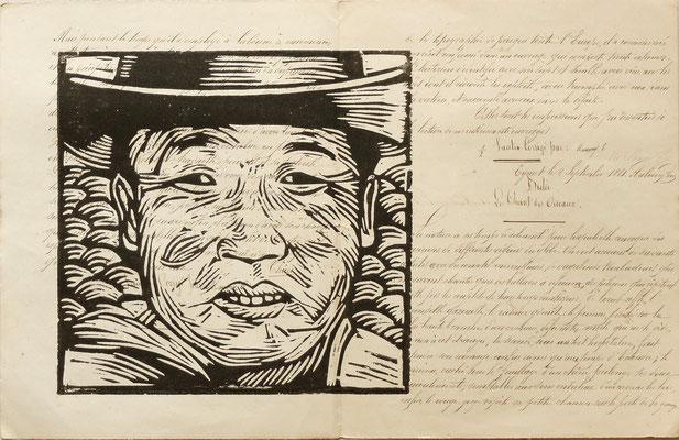 Gravure sur bois - bois gravé : Portrait Mongol 21x29  -Papier 1880 -90€