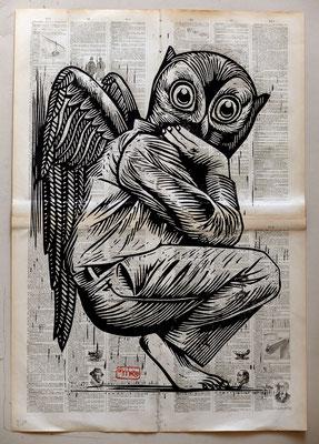 Gravure sur bois - bois gravé : Ange hibou 45x60-Papier encyclopedie 1901 - 250€