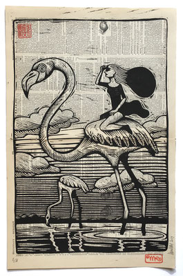mattroussel_gravure_sur_bois_pink flamingo 50x70 250€