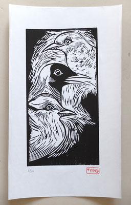 Gravure sur bois - bois gravé : Oiseaux  40x30-Papier Japonais - 110€