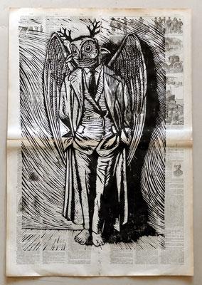 Gravure sur bois - bois gravé : hibou smart 45x60-Papier encyclopedie 1901-  160€
