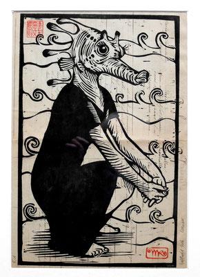 Gravure sur bois - bois gravé : Madame hypocampe2 40x25  -Papier encyclopedie 1901-  1270€