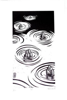 Gravure sur bois - bois gravé : Zen  40x30 -Papier vinci -90€