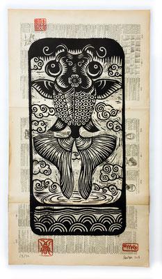 """""""Poisson volant"""" gravure sur bois/woodcut 50x30 210€"""