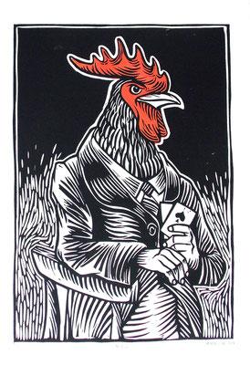 Gravure sur bois - bois gravé : Le Coq 45x60 -n°3/20- Papier Vinci -180€
