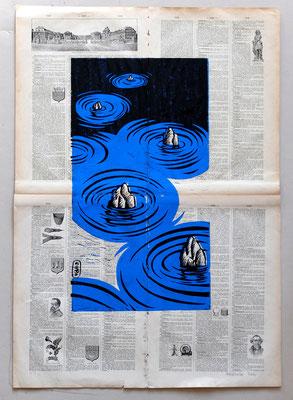 Gravure sur bois - bois gravé : Zen bleu 40x30 -Papier encyclopedie 1901  -90€