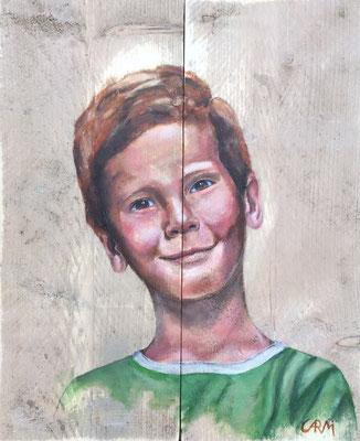 Boet, acrylverf op steigerhout 40 x 50