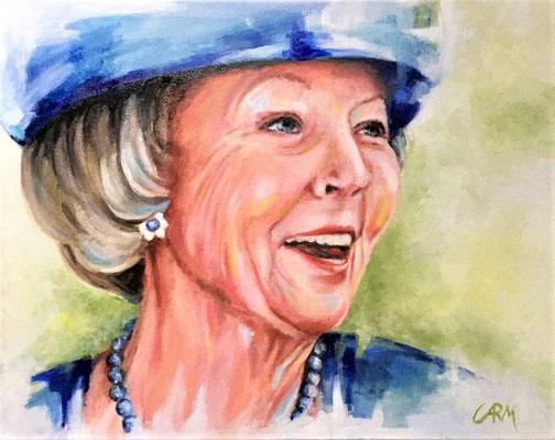 prinses Beatrix, olieverf op doek 40 x 50