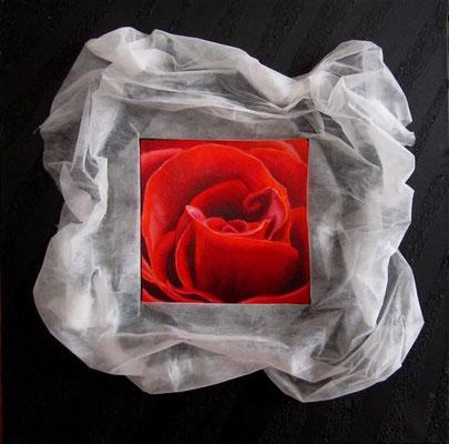 Profumo di rosa (olio, acrilico, malta sabbiata e voile de jardin) 80x80-2010