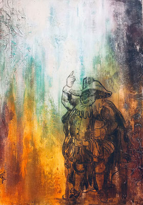 """Giù la maschera (tecnica mista) 70x100 - 2020 """"nel lungo tragitto della vita incontrerai tante maschere e pochi volti."""" —  Luigi Pirandello"""