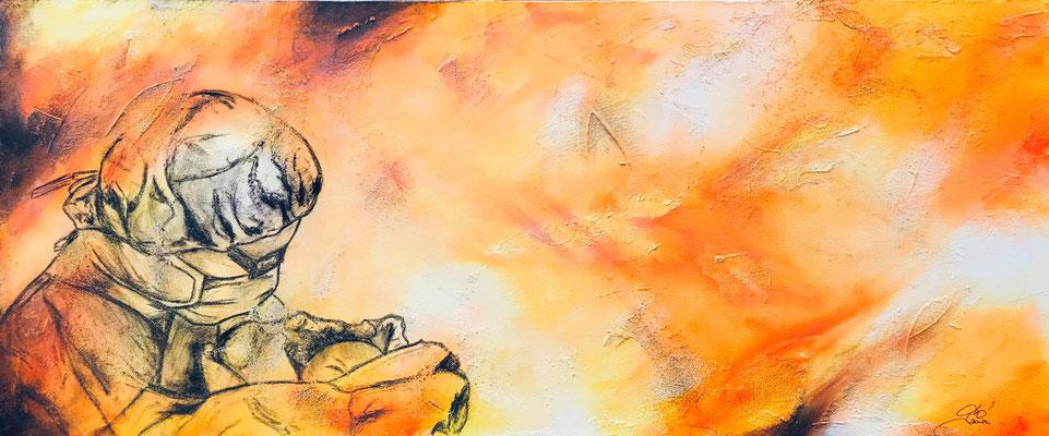 Speranza, mascherine in tempo di Covid - Ho voluto lanciare un messaggio di speranza con una mascherina indossata per proteggere sì, ma per accogliere una nuova vita (tecnica mista) 50x120 - 2020 COLLEZ PRIVATA Ricavato devoluto tutto al Centro Bethlehem