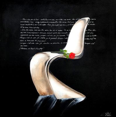 Ma rose (olio e acrilico - 80x80 - 2020) (Puisque c'est elle que j'ai écoutée se plaindre, ou se vanter, ou même quelquefois se taire. Puisque c'est ma rose.)