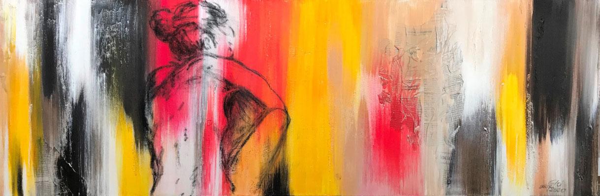 Vita (tecnica mista) 120x40 - 2020 - La vita è un'enorme tela: rovescia su di essa tutti i colori che puoi (Danny Kaye)