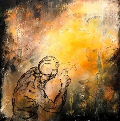 Futuro-Il futuro ci corre incontro a braccia spalancate ma non ci dà il tempo di abbracciarlo (Michelangelo) (tecnica mista) 80x80-2019  Omaggio a Michelangelo
