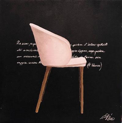 Sapienza (olio e acrilico - 30x30 - 2020) Un uomo se possiede la vera sapienza può godere l'intero spettacolo del mondo seduto su  una sedia, senza saper leggere, senza parlare con nessuno)