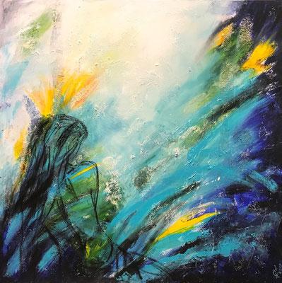 """Éternité - """"Elle est retrouvée. Quoi? L'Éternité. C'est la mer allée Avec le soleil"""" A. Rimbaud (mista su tela) 80x80-2019"""