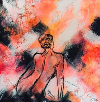 Phoenix (tecnica mista 80x80-2021) Come una fenice risorgerò dalle mie ceneri, tutto ciò che mi colpisce, un giorno mi fortificherà.