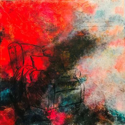Immortalità (80x80 mista-2021)  A volte mi basta un sogno per sedermi nella comoda poltrona dell'immortalità (Jacqueline Miù)